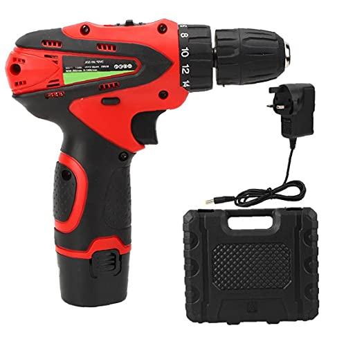 Gracy El Litio Taladro inalámbrico Taladro Destornillador eléctrico 12v Taladro Juego de Herramientas de Proyecto de Dos velocidades Rojo de la batería