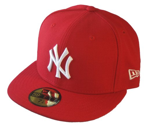 New Era MLB Basic NY Yankees 59 Fifty Casquette de baseball pour adulte style fitted Medium Weiss/Rot-1