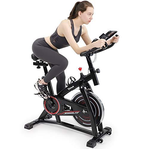 Hello-5ive Exercise Bike for Home Indoor, Folding Fitness Bike Spinning Bike with 8 KG Flywheel, Adjustable Resistance, LCD Display, Heart Rate Sensor, Phone/Tablet Holder