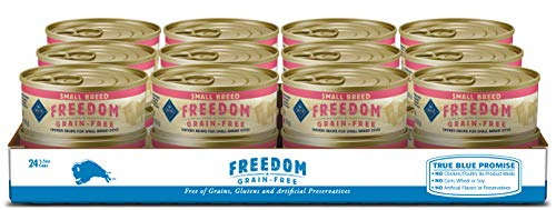 Blue Buffalo Freedom Grain Free Natural Adult Small Breed Wet Dog Food Chickens 5.5oz can (Pack of 24)