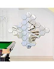 12 قطعة من ملصقات الحائط ثلاثية الأبعاد مرآة سداسية من الأكريليك DIY الإبداعية لتزيين المنزل مجموعة ملصقات مرآة قابلة للإزالة