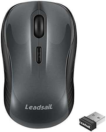 LeadsaiL Computer Wireless Mouse, 2.4G Wireless Ergonomic Portable Laptop Mouse, Cordless Mouse with USB Receiver, 3 Adjustable DPI Levels for Notebook, PC, Laptop, Computer, MacBook (Light Grey)
