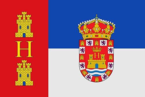 magFlags Bandera Large Municipal de Herrera de Valdecañas Palencia de Dimensiones 2 3 tercia al asta y Doble al batiente | Bandera Paisaje | 1.35m² | 90x150cm