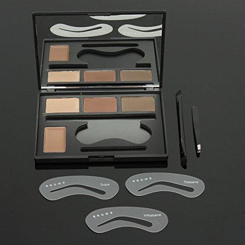 Bureze 4 Couleurs Sourcils Palette Pochoirs de Maquillage Mat Crème Ombre à paupières Miroir Pince à épiler brosses Comestic