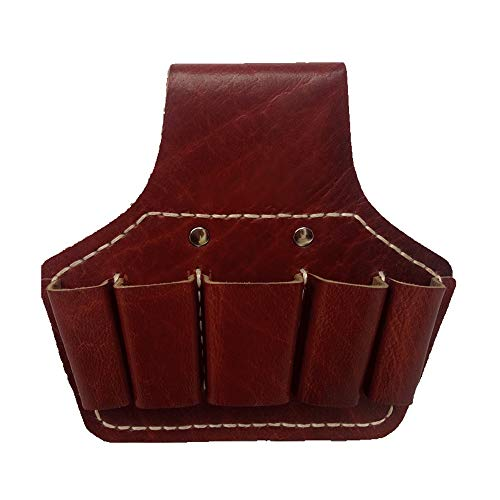 Nvshiyk Multi Pocket Tool Organizer Leather Electrician Waist Tool Bag 5 Pockets Durable Tool Storage Bag for Electricians (Color : Brown, Size : 18.5x16.5cm)