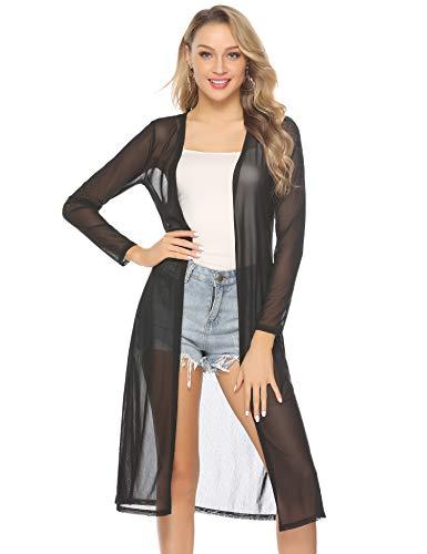 Abollria Damen Sommer Cardigan Leichte Lange Jacke Transparente Offene Strickjacke mit Seitenschlitze, Schwarz, Gr.- XL