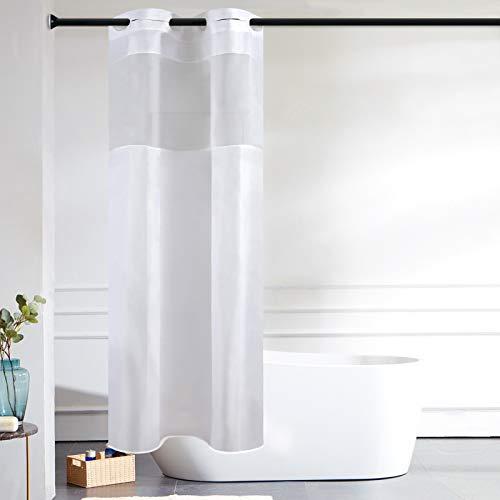 Furlinic Schmaler Duschvorhang für Eck Dusche Kleine Badewanne Badvorhang mit Gazefenster aus Stoff Schimmelresistent Wasserdicht Waschbar Weiß 90x180 mit Groß Ösen.