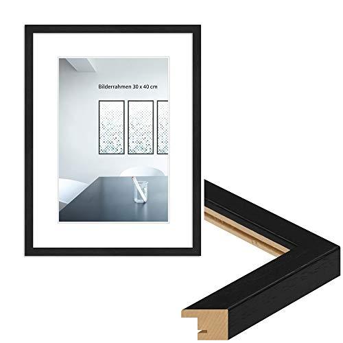 WANDStyle Marco de fotos moderno, 21 x 30 cm, DIN A4, color: negro, veteado, marco de fotos I Clásico marco de madera I Fabricado en Alemania I H950