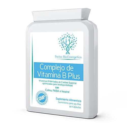 Complejo de vitamina B Plus - Fórmula metilada superior + colina, PABA e inositol - Vitaminas B esenciales múltiples B1, B2, B3, B5, B6, B12, biotina y folato