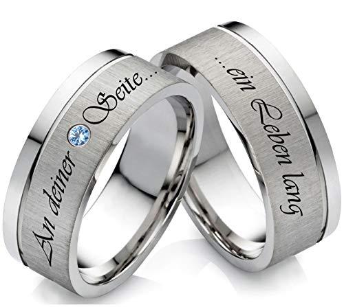 frencheis Eheringe Verlobungsringe aus Edelstahl mit Topas und Laser Gravur Z118