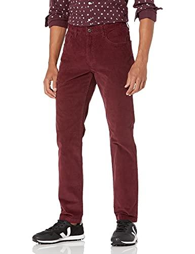Goodthreads Men's Slim-Fit 5 Pocket Corduroy Pant, Burgundy, 38W x 32L