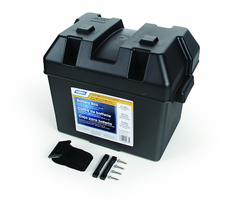 "Camco Heavy Duty Battery Box with Straps and Hardware - Group 24 |Safely Stores RV, Automotive, and Marine Batteries |Durable Anti-Corrosion Material | Measures 7 ¼"" x 10 ¾"" x 8"" - (55362)"