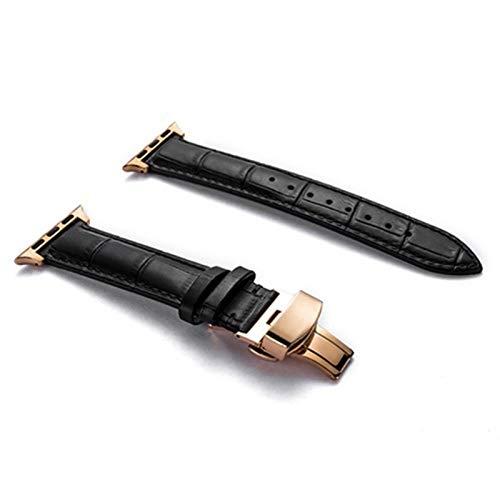 KAAGGF Correa de Cuero Genuino for la Banda de Reloj de Apple 44 mm 40 mm for Banda de iWatch 42mm 38mm Pulsera de cocodrilo Correa for el Reloj Apple 5 4 3 6