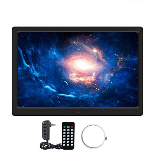 WJ Digitaler Bilderrahmen, 12-Zoll-Fernbedienung Elektronisches Fotoalbum, Motion Sensor, Eingebaute Lithium-Batterie, Video Advertising Player Mit Fernbedienung,Schwarz