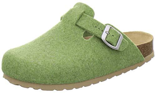 AFS-Schuhe Damen Hausschuhe geschlossen aus Filz, Bequeme, warme Winter Clogs, Made in Germany, 26900 (39 EU, grün)