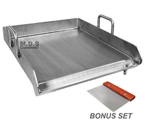 Stainless Steel Flat Top Comal Plancha 18'x16' inch BBQ Griddle for cooking with Outdoors Stove or...