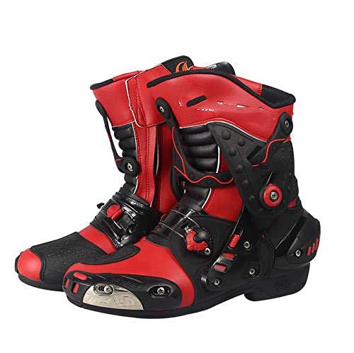 ZOULME Carretera Racing Certified Motocross Off Road Zapatos de Ciclismo Armadura Protección de Armadura Botas de Cuero largas Botas de Motorbike para Hombre Boys Rider-Rojo_41