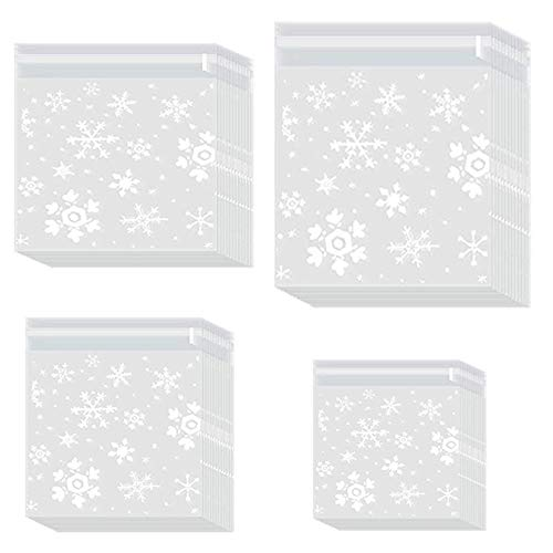 400 Piezas de Bolsas de Galletas Transparente Navideñas,Bolsas de Plástico para Galletas de Copo de Nieve,Bolsa de Embalaje de Regalo,para Galletas,Caramelos,Chocolate,4 Paquetes de 4 Tamaños