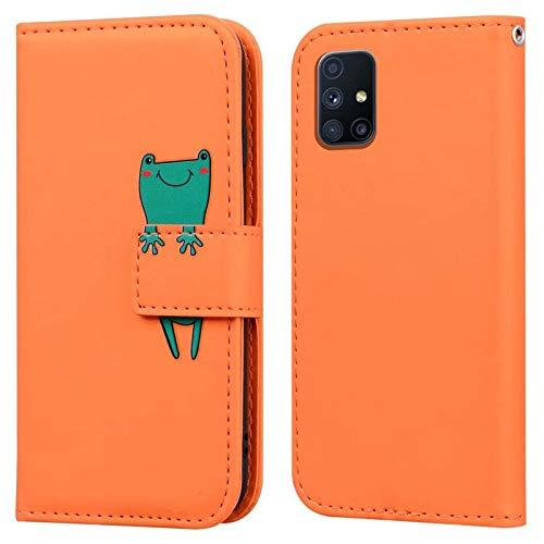 Ailisi Funda Samsung Galaxy M51, Frog Cartoon Diseño de Animales Orange Billetera Carcasa Protectora de Cuero PU con Cierre magnético, Función de Soporte, Ranuras para Tarjetas -Rana, Naranja