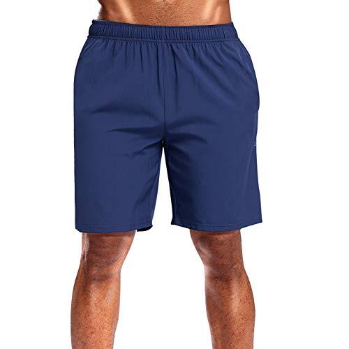 CAMEL CROWN Herren Sportshorts Leichtgewichtig schnell trocknend Lauftrikot Shorts mit Taschen für Gym Jogger Basketball - blau - Klein