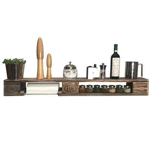Palettenmöbel: Wandregal, Küchenregal, Gewürzregal KALANIKI, Neuholz gebeizt in klassischer Paletten Optik, jedes Teil ist einzigartig und Wird in Deutschland in Handarbeit gefertigt