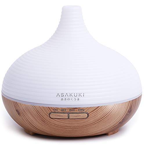ASAKUKI 300ml Essential Oil Diffuser, Premium 5 In 1 Ultrasonic Aromatherapy Scented Oil Diffuser...
