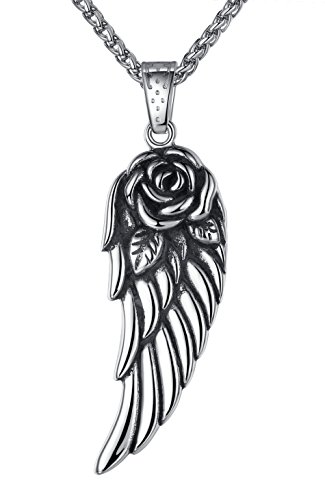 """Stainless Steel Rose Angel Wing (Large) Pendant Necklace, 24"""" Link Chain, aap023"""