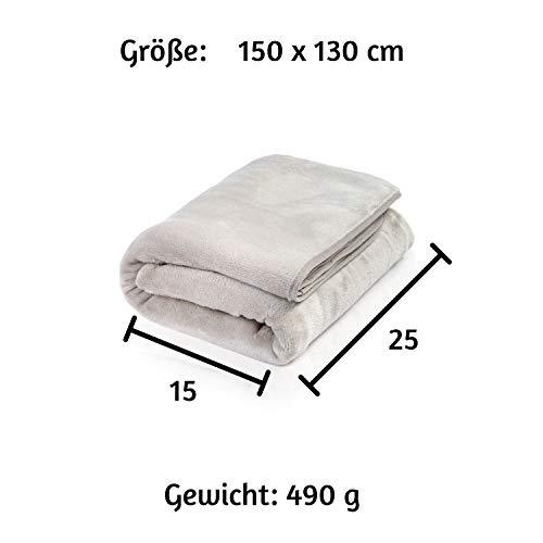 ALTERA LA VITA Reise-Decke, Kuscheldecke aus Fleece - warm und weich - gut komprimierbar mit Tasche - 150x130 cm - für Reisen mit Flugzeug, Bahn oder Auto, für Outdoor oder Camping