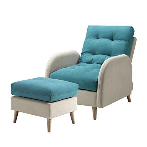 N/Z Home Equipment Farbabstimmung Lounge Stühle Sofa Klappbare Single Recliner Couch Möbel mit Hocker 5 Positionen Verstellbare Rückenlehne Geeignet für Home Office Wohnzimmer oder Balkon Blau