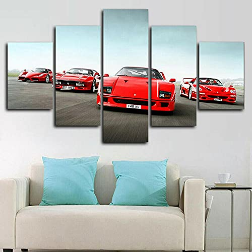 VYQDTNR - Multi Panel 5 Piece Modern Pop Art Decor Racing Classic F40 Red Cars Canvas Print Home Decor Wall Art Gallery Wrap Inner Frame Framed Picture Painting Easy to Hang