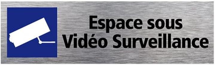 Sticker d'Information Espace sous Vidéo Surveillance - Aspect Aluminium Brossé - Dimensions 170 x 50 mm