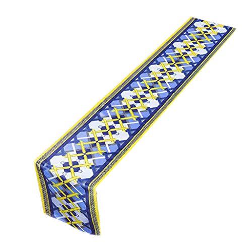 Chemin de table Grille Tableau Drapeau en Peluche Fleur Figure Bleu Rétro Mode Simple Nordique Café Lit Mariage Hôtel Banquet Décoration 30 cm * 160 cm (Taille : 160cm)