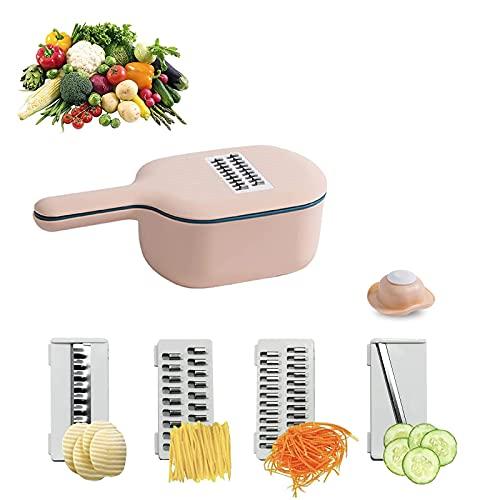 WENTING Cesto de drenaje cortador de vegetales 4 cuchillas reemplazables rallador de alimentos multifunción cortador y dados para cebolla, zanahoria, patata, tomate, fruta (rosa)