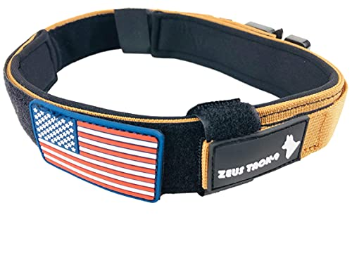 ZeusTacK9 Tactical Dog Collar K9 Pet Dogs - 1.5 Inch Wide Heavy Duty Military Style Dog Collars Metal Buckle Quick Release USA Flag Patch - Control Handle for Handling Training (LRG, TAN)