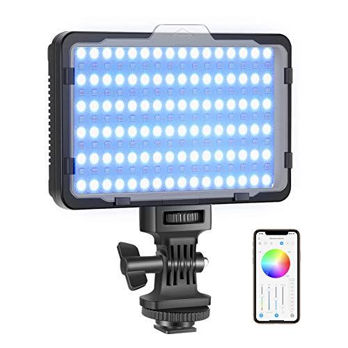 Neewer RGB Videolicht mit APP-Steuerung 360°Volle Farbe LED-Kameralicht CRI95+ Dimmbar 3200K-5600K 9 Lichtszenen für YouTube DSLR-Kamera-Camcorder-Fotobeleuchtung (Akku Nicht enthalten) RGB176