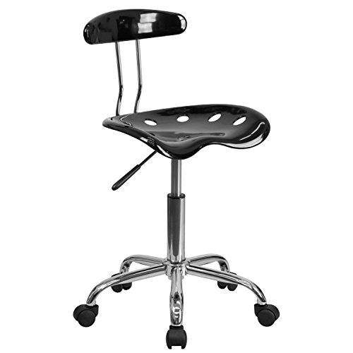 Flash Furniture Vibrant Black and Chrome Swivel Task Office Chair...
