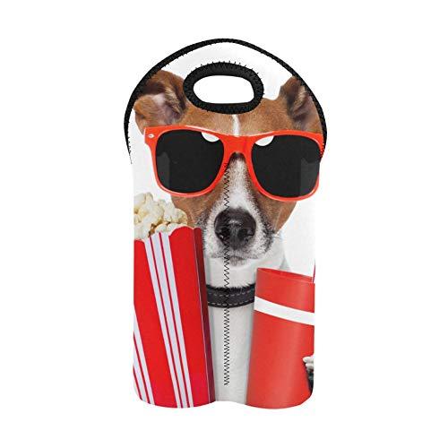 Wein Geldbörse Hund mit Sonnenbrille Popcorn und trinken Cola Weinflaschentaschen Doppelflaschenträger Weintaschen Dicker Neopren Weinflaschenhalter hält Flaschen geschützt