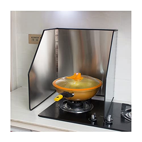 liangzishop 3 Sided Splatter Guard Cover Grease Shield Oil Splash Insulation Board Kitchen Cooking Frying Pan Anti Splatter Shield Guard (Size : 45 * 45 * 50cm)