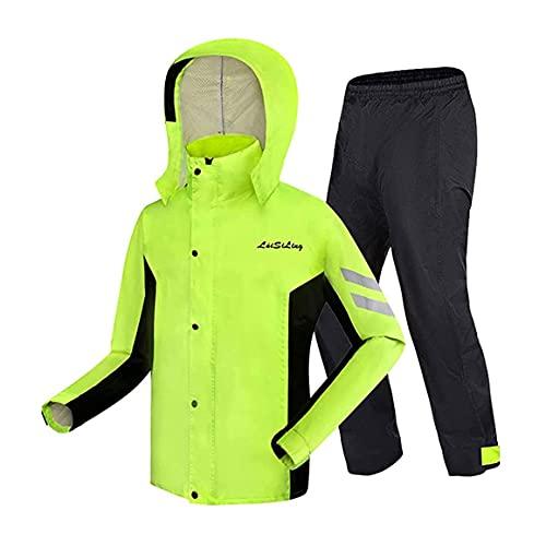 Chubasquero Impermeable Trajes de 2 Piezas,Unisex Chubasquero Moto Impermeable Ligero Reflectante Ropa de Lluvia Dividida para Adultos - Ideal para excursiones y Paseos (Color : Green, Size : M)