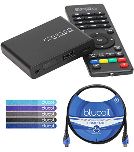 Micca MPLAY-HD Mini Digital Media Player with IR Remote Control Bundle with Blucoil 8-FT HDMI Cable, and 5-Pack of Reusable Cable Ties