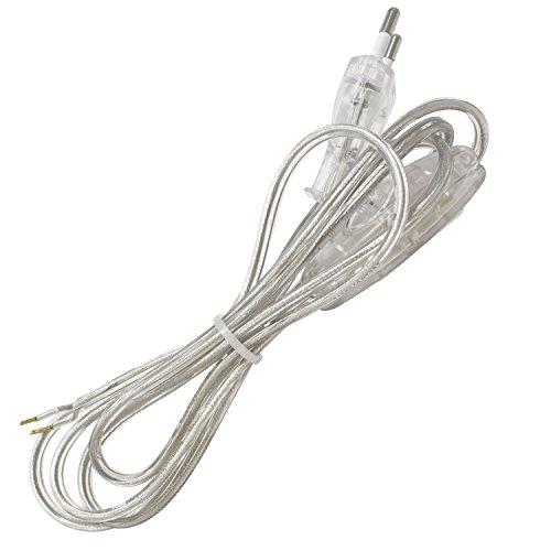 Cable de conexión alimentación con clavija enchufe europea UE interruptor de mano 2x0,75 longitud 2 metros (100cm a clavija europea 100cm a extremo libre) en color Transparente