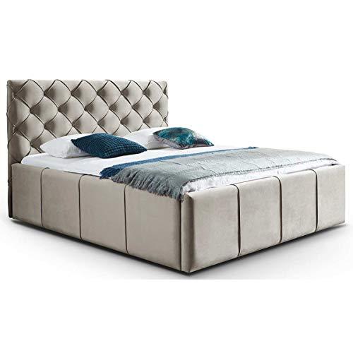 Bett mit Bettkasten Samt Nelly XXL-Stauraum Chesterfield-Stil Polster Doppelbett Lattenrost Knopfheftung (Altweiß, 180 x 200 cm)