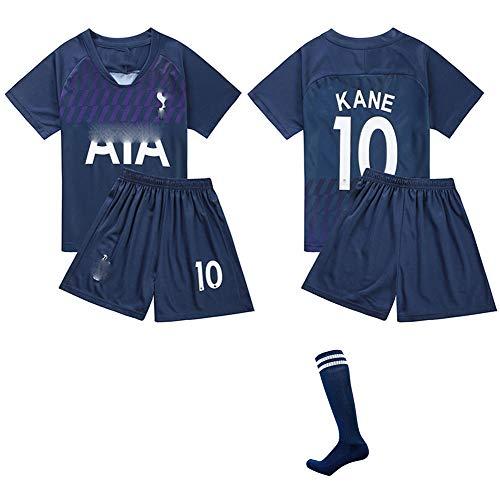 DDSC # 10 Kane Trikot Fußballuniform Trikotset Jersey,Outfit Kinder Kurzarm Shorts Socken Trainingsbekleidung Wettbewerb Fan-Ausgabenweste -Top Hemd Darkblue-16