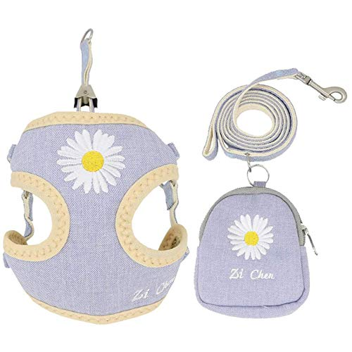 PETCARE Pet Dog Cat Harness and Leash Set with Bags Soft Mesh Cute Blue Daisy Embroidery Dog Vest Harness for Puppy Small Dogs Cats