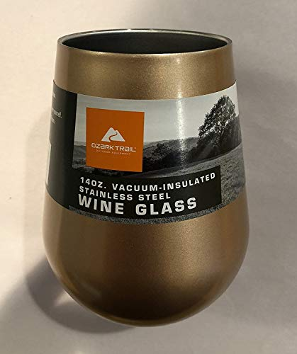 Ozark Trail Vacuum Insulated Stainless Steel Wine Glass 14oz - Gold