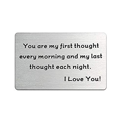 CHOORO Wallet Insert Card Engraved Love Note Wallet Card Anniversary Card Gifts for Men Valentines Gift for Husband Boyfriend (First Thought Card)