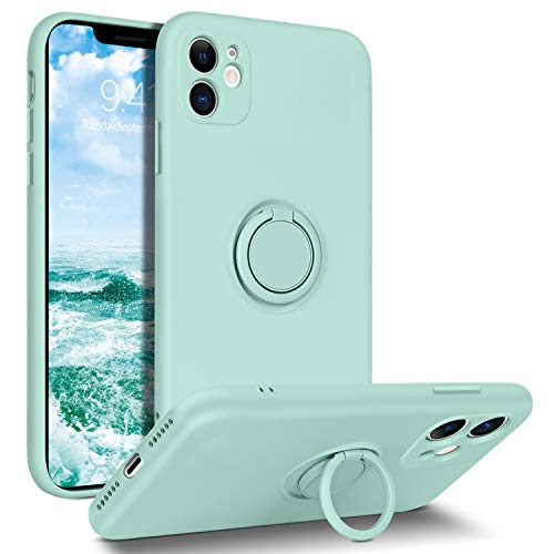 DUEDUE iPhone 11 Case, Liquid Silicone Soft Gel Rubber Slim Cover with Ring Kickstand  Car Mount Function,Shock Absorption Full Protective Anti-Scratch Case for iPhone 11, Light Green