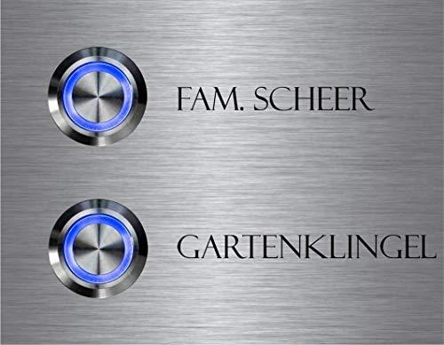 2-voudige deurbel dubbele bel met twee knoppen en naam gravure familiehuis roestvrij stalen belplaat voor 2 gezinnen 9x7 cm met meer dan 70 motieven Model: Twin
