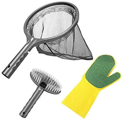 Aiglam Pool Cleaning Kit, 3PCS Hot Tub Accessories Spa Maintenance Kit with Pool Skimmer Net, Scrub Brush & Sponge Glove for Swimming Pools Hot Tubs Spas