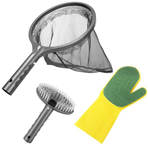 Pool Reinigung Set, Aiglam 3PCS Whirlpool Reinigungsset inkl. Laub Kescher, Reinigungsbürste & Handschuhe mit Schwamm für Schwimmbad Pool Whirlpool Teich